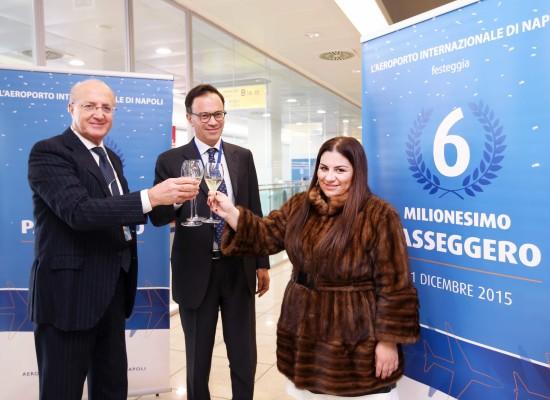 L'Aeroporto Internazionale di Napoli festeggia il suo 6milionesimo passeggero