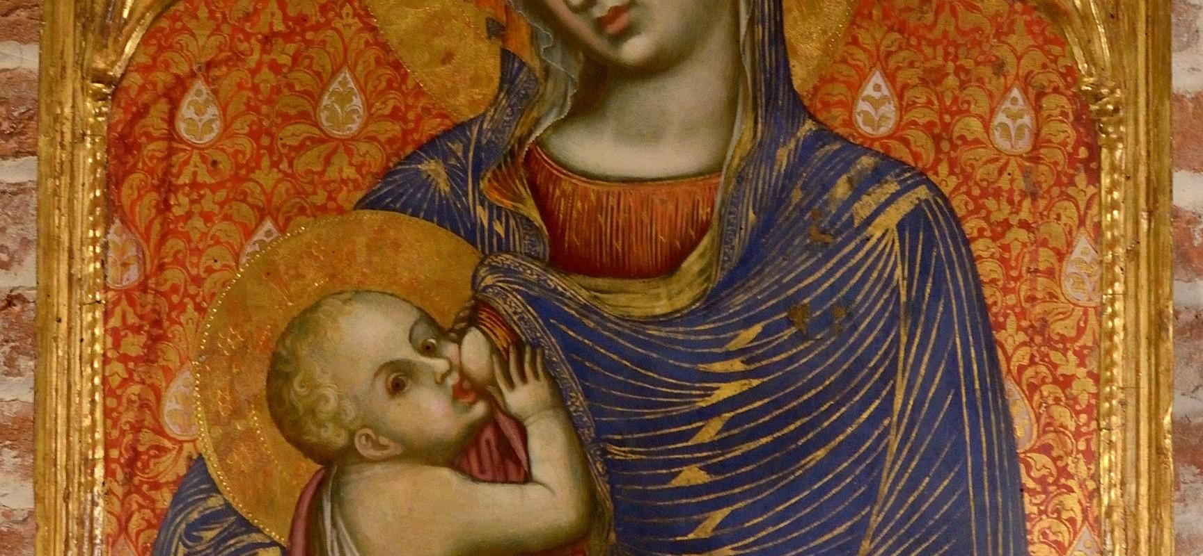 Barnaba da Modena, Madonna che allatta il Bambino tra gli Angelo in alto Annunciazione Pisa, Museo Nazionale San Matteo