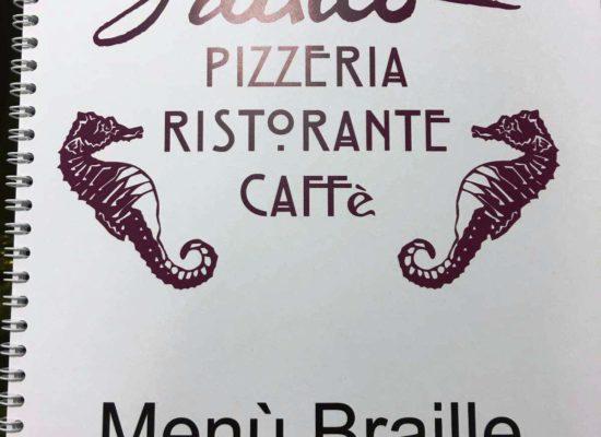 Un menù in braille per pizze speciali